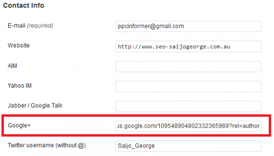 Указание профиля в Google+ при помощи плагина Yoast