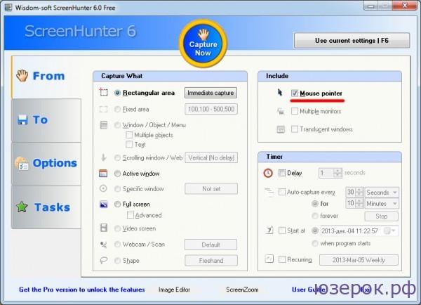 Программа screenhunter позволяет захватывать курсор мыши - screen с курсором