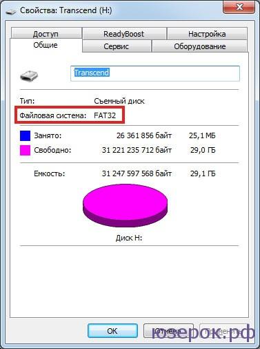 Заглянув в свойства съемного диска, мы легко находим информацию, что у него файловая система FAT32