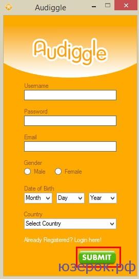 """Вводим: имя, пароль, e-mail, выбираем пол, день рождения, страну. Нажимаем """"Submit"""""""