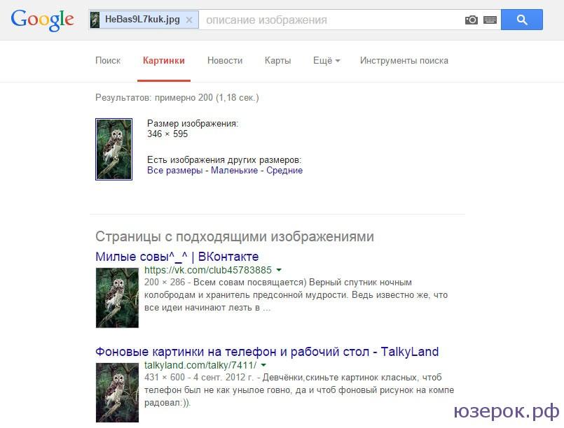 Результаты поиска по картинке в Гугл