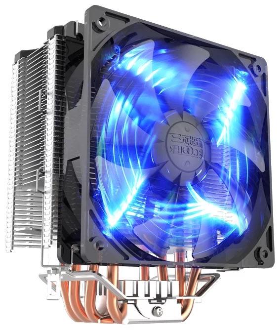 Вентилятор кулера PCcooler GI-X5B оснащен синей подсветкой
